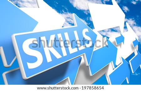 Skills 3d render concept with blue and white arrows flying in a blue sky with clouds - stock photo