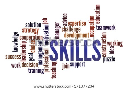 Skills  in word collage - stock photo