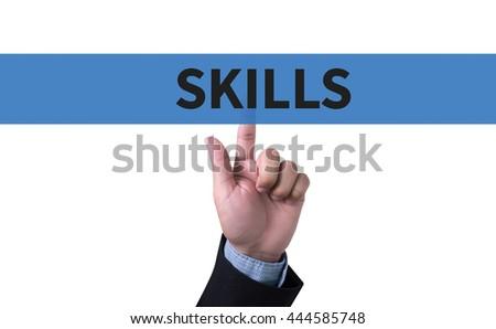 SKILLS man pushing (touching) virtual web browser address bar or search bar - stock photo