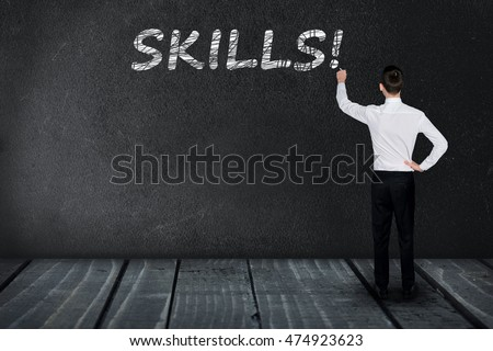 Skills text write on black board