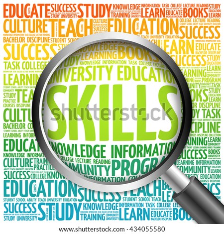 SKILLS word cloud with magnifying glass, concept 3D illustration - stock photo