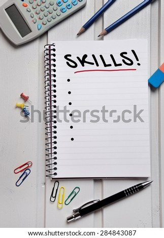 Skills word writing on paper
