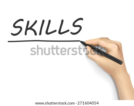 skills word written by hand on white background