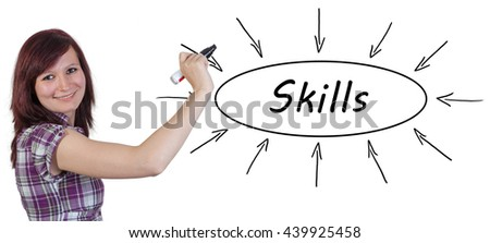 Skills - young businesswoman drawing information concept on whiteboard.  - stock photo