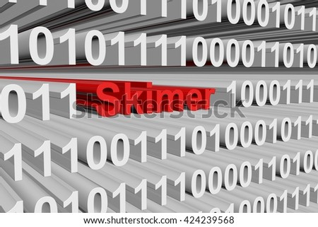 Skimer in the form of binary code, 3D illustration
