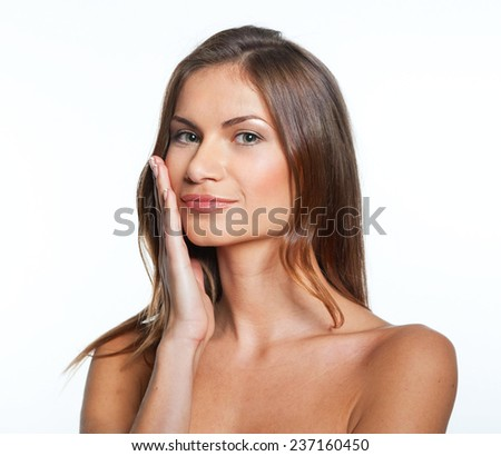 Skin care Beautiful  Woman  Healthy skin Portrait with Hand on Face