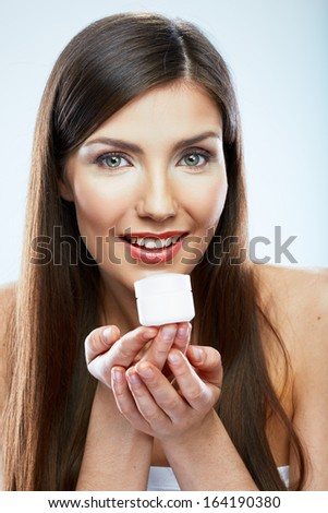 Skin care face woman portrait. Beauty concept. Isolated white background.