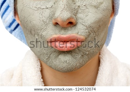 Skin firming facial mask for the beauty and healthy skin - stock photo