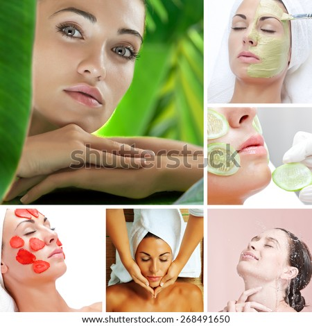 skin treatment theme collage composed of different images - stock photo