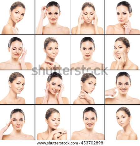 Skincare collage with beautiful, sexy women over isolated background.