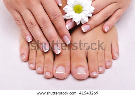 Skincare of a beauty female feet with camomile's flower - stock photo