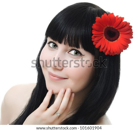 skincare of young beautiful woman face on white background - stock photo