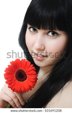 skincare of young beautiful woman face on white background