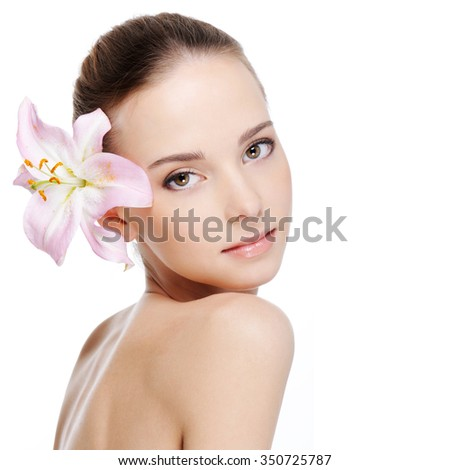 skincare of young beautiful woman face - white background