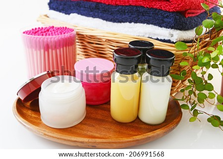 Skincare products isolated over white