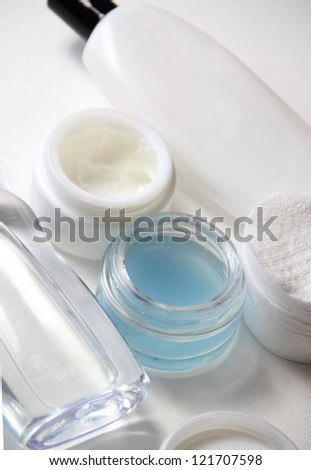 Skincare set, pads, creams, lotion and make-up remover - stock photo