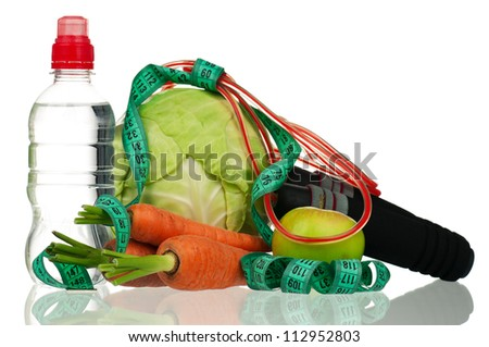 Skipping rope with a tape measure and healthy food on white background