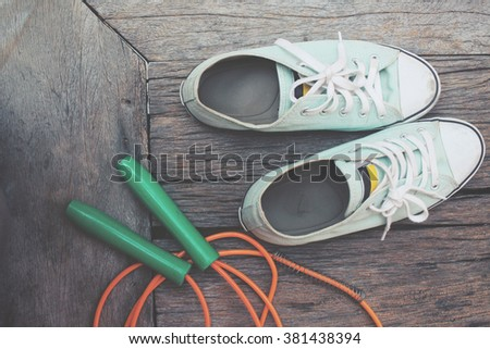 Skipping rope with sneakers