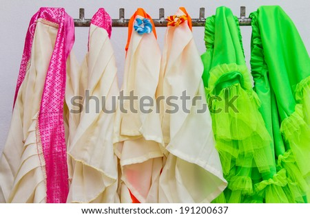 Skirt, which is made of many colorful rag hanging