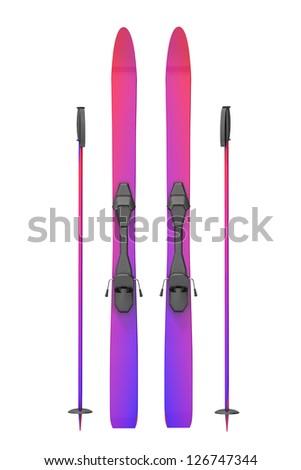 Skis on a white background - stock photo