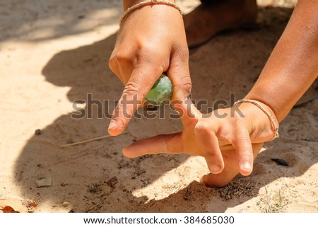 Skits of rural children (playing marbles)
