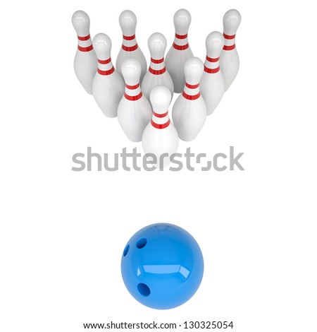 Skittles and blue bowling ball. Isolated render on a white background - stock photo