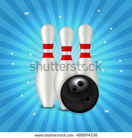 Skittles and Bowling Ball Background  Illustration
