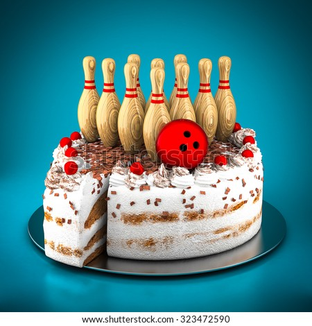 Skittles for bowling and cake on a blue background - stock photo
