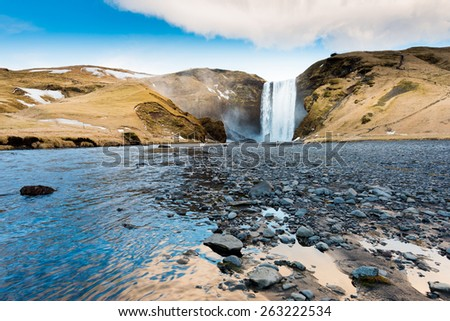 Skogafoss, Waterfall in South of Iceland - stock photo