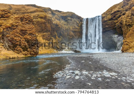 Skogafoss waterfall, One of the biggest waterfalls in Iceland with a width of 25 metres (82 feet) and a drop of 60 m (200 ft).