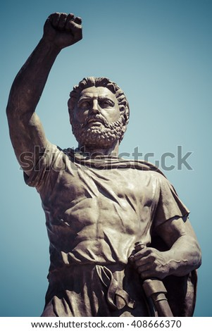 SKOPJE, MACEDONIA - APRIL 14, 2016: Statue of Filip II, father of Alexander the Great monument. Skopje, Macedonia