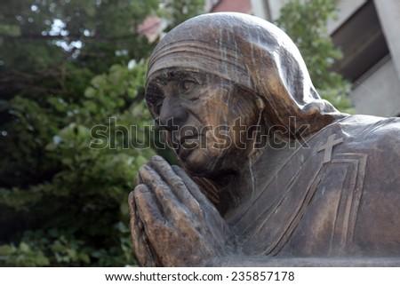 SKOPJE, MACEDONIA - MAY 17: Mother Teresa monument in Skopje on May 17, 2013. Mother Teresa monument Humanitarian Worker and Nobel Prize Winner in Skopje, Macedonia. - stock photo