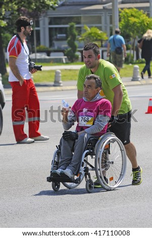 SKOPJE, MACEDONIA - MAY 08: Unnamed participants on the streets of Skopje during Marathon race on May 08, 2016 in Skopje Macedonia - stock photo