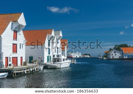 Skudeneshavn village in Norway, white wooden houses