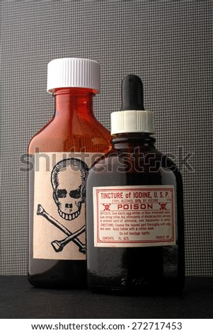 skull and bones and poison bottle.