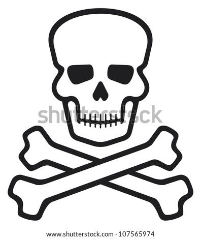 skull and bones (pirate symbol, skull and cross bones, skull with crossed bones) - stock photo