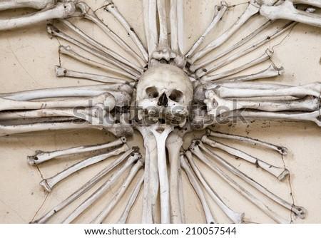skull and bones  - Sedlec Ossuary - Charnel house - stock photo