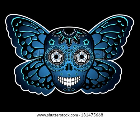 Skull and butterfly - stock photo