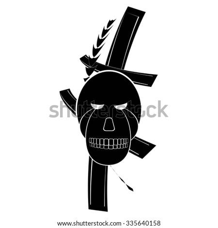 skull and cross for tattoo. raster illustration - stock photo
