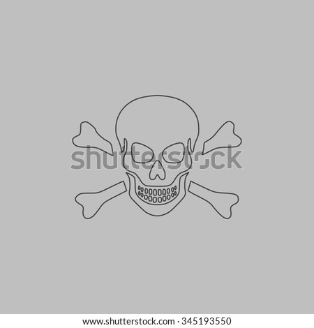 Skull and crossbones. Flat outline icon on grey background