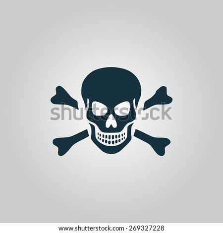 Skull and crossbones. Flat web icon, sign or button isolated on grey background. Collection modern trend concept design style illustration symbol - stock photo