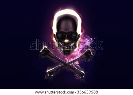 Skull and crossbones in flame on dark backgrond - stock photo