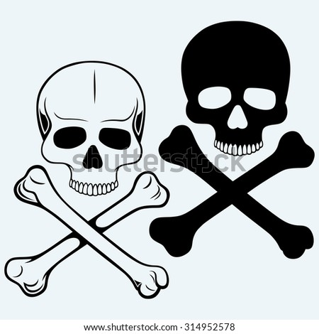 Skull and crossbones. Isolated on blue background. Raster version