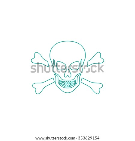 Skull and crossbones. Outline symbol on white background. Simple line icon