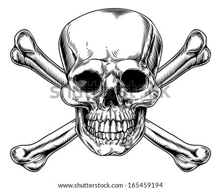 Skull and Crossbones sign in a woodblock or cut vintage style - stock photo