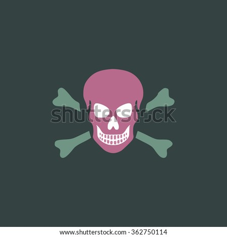 Skull and crossbones. Simple flat color icon on colorful background - stock photo