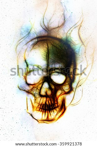 Skull and fractal effect. Color background, computer collage.  - stock photo