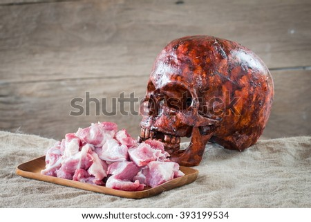 Skull and raw meat, Still life style