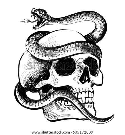 Skull snake stock illustration 605172839 shutterstock skull and snake thecheapjerseys Gallery