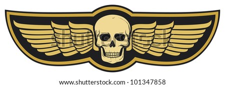 skull and wings - stock photo